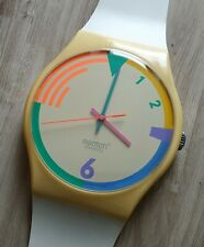 """Maxi Swatch MLW121 """" RED WAVE ! """" 1988 Rare Collectable Wall Clock Pop Art"""