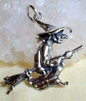 Flying Witch Pendant on Broomstick Sterling Silver Wicca Witch Pagan Goth Reiki