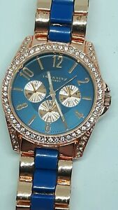 Identity Rose Gold Coloured Quartz Ladies Watch Blue And Gold Coloured Strap