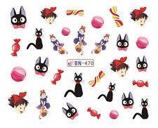 NAIL Art Decalcomanie trasferimenti ADESIVI Cartoon Little Princess & BLACK CAT (db470)