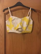 MISS SELFRIDGE: Yellow Floral Cut Out Bralet