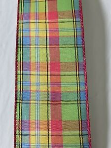 """5 Yds - 2 1/2"""" Wired Fuchsia, Lime, Blue, & Yellow Plaid Faux Linen Ribbon"""