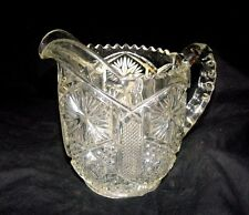 VINTAGE LEAD CRYSTAL PITCHER/CREAMER - SAWTOOTH RIM  LOVELY STARBURST PATTERN -