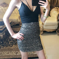 Ladies Sexy Sequins Bodycon Stretch Short Skirt Knitted Mini Party Club Gold New