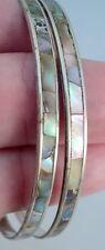 2 Vintage Shimmery Abalone Shell Inlay Slim Bangle Bracelet Alpaca Silver Mexico
