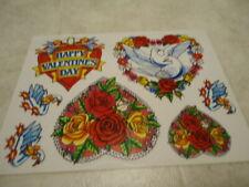 Happy Valentine's Day Doves Goose Roses Reusable Vinyl Static Cling Window Decor