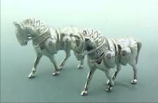 A PAIR OF 19THC CAST SILVER PLATE MODELS OF DRESS HORSES