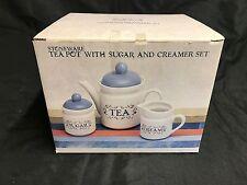 """BLUE HERITAGE"" Stoneware Teapot, Creamer & Sugar Bowl ~ NEW in BOX ~ #16-2317"