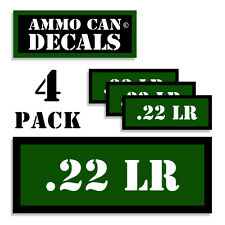 "22 LR Ammo Can 4x Labels for Ammunition Case 3"" x 1.15"" stickers decal 4 pack GR"