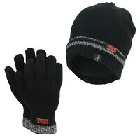 Men's Heat Machine Warm Tog Rated Insulated Thermal Hat & Gloves Black M/L