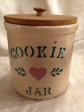 Vintage ROBINSON Roseville Ohio Art Pottery Stoneware Cookie Jar and W/ Wood Lid