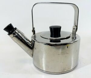 RARE IKEA of Sweden A-1825 Stainless Steel Heavy Duty Metal Whistle Tea Kettle P