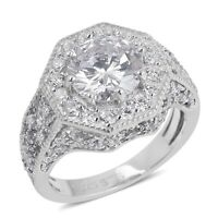 925 Sterling Silver Cubic Zirconia CZ Cluster Ring Jewelry for Women Ct 4.8
