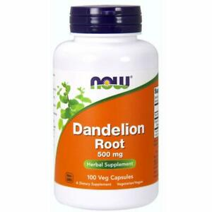 Now Foods Dandelion Root 500 mg 100 Veg Capsules Free Ship