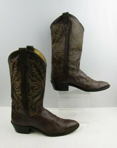 Men's Justin Brown Leather Western Cowboy Boots Size : 10 D