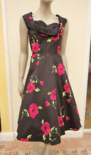 Grace Karin - Black Floral 50 / 60's Style Dress with Netted Underskirt - size L