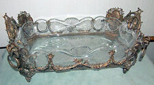 CENTER-PIECE RARE STERLING     & CRYSTAL BOWL 19 C FRENCH  W/4 RAMS HEAD 3800 GR