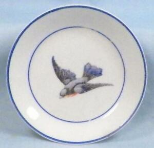 Antique Bluebird Butter Pat Earthenware Dots of Paint Wear #1