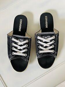 Rare Converse Wm Sz 8 Taylor All Star Black Cutaway Slides Sandals Shoes W/ Lace