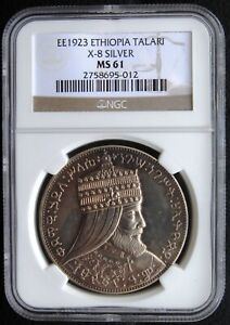 EE1923 1931 Ethiopia Talari X# 8 Proof Selassie Lion NGC MS61 HD Video in Desc