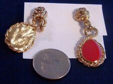 Red Enamel Pierced Dangle Drop Earrings