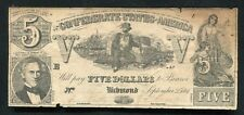 T-37 1861 $5 Five Dollars Csa Confederate States Of America Currency Note
