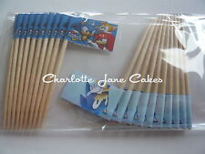 20 cupcake flags/toppers-sonic the hedgehog enfants fête d'anniversaire