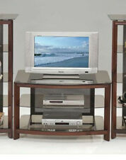 23'H Concise Style Tempered Glass&Cherry Finish Wood Entertament Tv Stand-Asdi