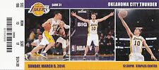 2014 LOS ANGELES LAKERS VS OKC THUNDER TICKET STUB 3/9/14 STEVE NASH