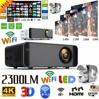 23000LM LED Smart Home Theater Projector 4K Wifi BT 1080p FHD 3D Video Movie