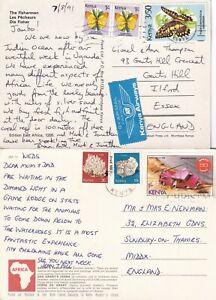 CC4457 Kenya 12 different stamped postcards UK;  1970s - 2005
