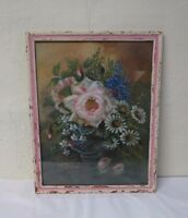 Antique/Vtg Oil on Board Painting Pastel Romantic Shabby chic Flowers PA artist