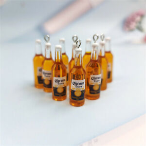 2/10Pcs Beer Bottle Resin Earring Charms Keychain Necklace Pendant Jewlery DIY