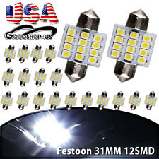 20X White 31MM 12SMD Festoon Interior Dome LED Light lamp Bulb 3021 3022 DE3175