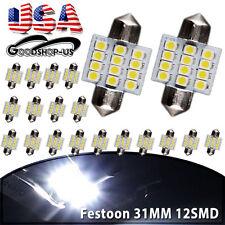 20X White 31MM 12SMD Festoon Interior Dome LED Light lamp Bulb 3021 3022 DE3175