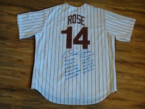 PETE ROSE SIGNED PHILLIES M&N JERSEY WITH 12 SIGNED STATS BECKETT BAS CERTIFIED.