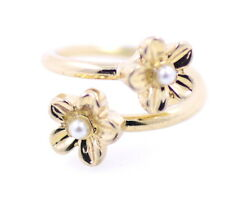 Delicate looking gold tone twin plum flower open ring, UK Size G