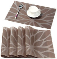 Placemats for Dining Table Washable Placemat Set of 4 Heat Resistant Woven Vinyl