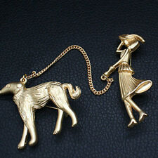 Dog Chain Enamel Metal Brooches Shan Vintage Suboptical Gold Women Who Lead