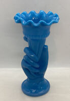 "Vintage Chalaine Delphite Opaline Blue Milk Hand Holding Vase / Rare 8-1/4"" Tall"