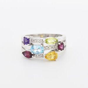 14k WG Diamond Garnet Citrine Peridot Topaz & Amethyst Ring Sz 6.75