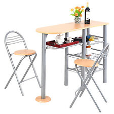 Pub Dining Set Counter Height 3 Piece Table and Chairs Set Breakfast Kitchen