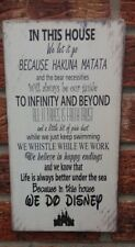 Disney Quotes In This House we Do Disney Wooden Sign 12 x 6 Inches vintage chic