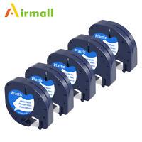 5 PK Compatible for Dymo LT 91201 91331 Label Tape WHITE Plastic LetraTag 1/2''