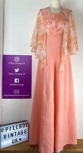 70s Size 10-12 Orange Peach Floral Cape Maxi Cottagecore Dress