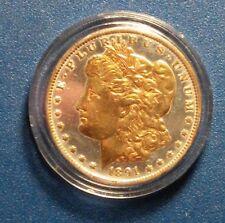1891 Morgan Silver Dollar $1 w/Gold-plated Face. Collectible Coin
