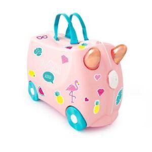 *NEW* Trunki Ride On Suitcase FLOSSI FLAMINGO Luggage PLUS Glitter Stickers