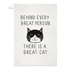 Dietro ogni grande persona è un grande gatto asciugamani Dish Cloth-FUNNY KITTEN