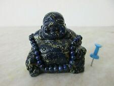 Altes Unikat kleiner HAPPY BUDDHA Lapis-Lazuli & Edel-Stein Halskette China 1960