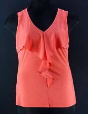 Deletta NEW Sz L Coral Cotton Blend Waterfall Overlay Blouse D247